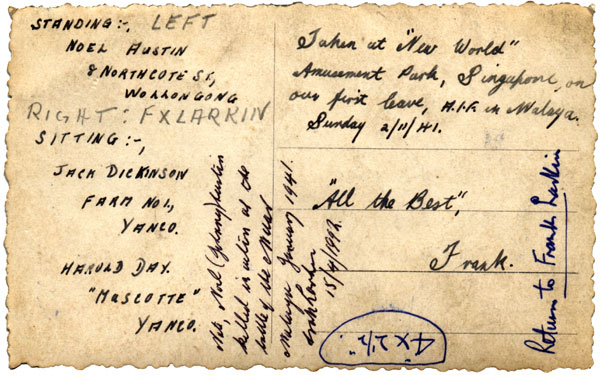 Reverse of Singapore Leave photograph