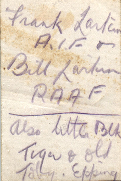 Reverse of photograph showing Frank and Bill Larkin