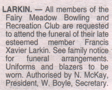 Funeral notice for Frank Larkin