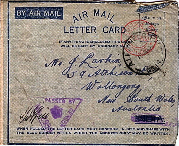 Letter postmarked January 10th 1942