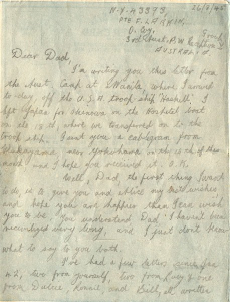 Letter dated September 26th 1945