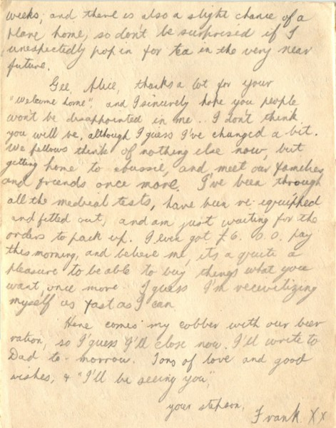 Letter dated September 28th 1945