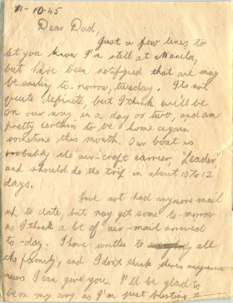 Letter dated October 1st 1945