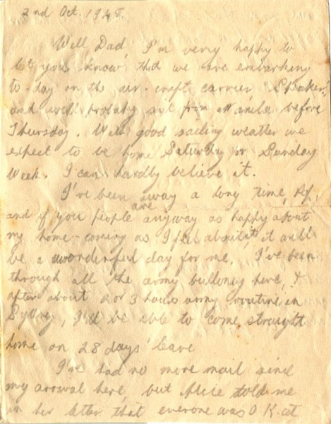 Letter dated October 3rd 1945