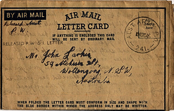 Letter dated October 4th 1945