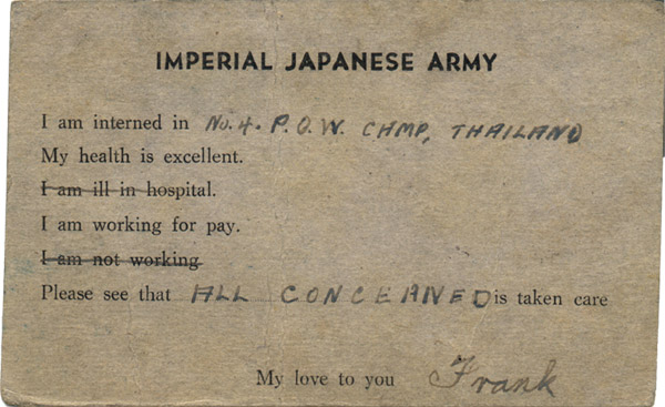Postcard received 9th September 1944 reverse