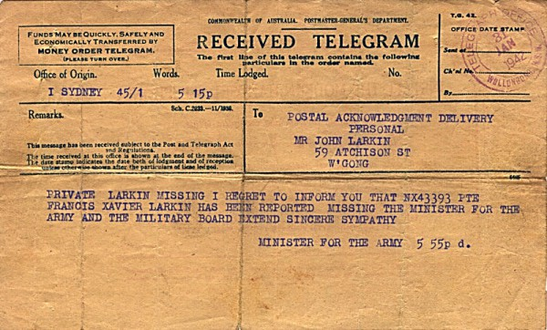 Telegram dated 31st January 1942