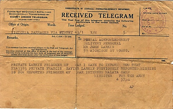Telegram dated 3rd February 1943