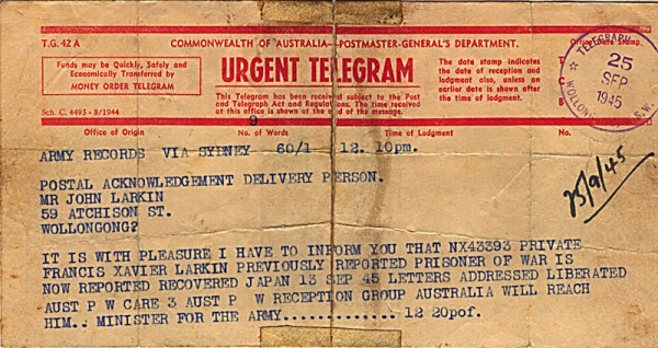 Telegram dated 25th September 1945