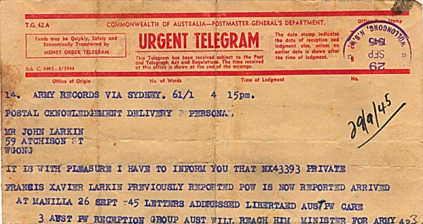 Telegram dated 29th September 1945