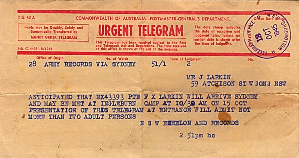Telegram dated 13th October 1945