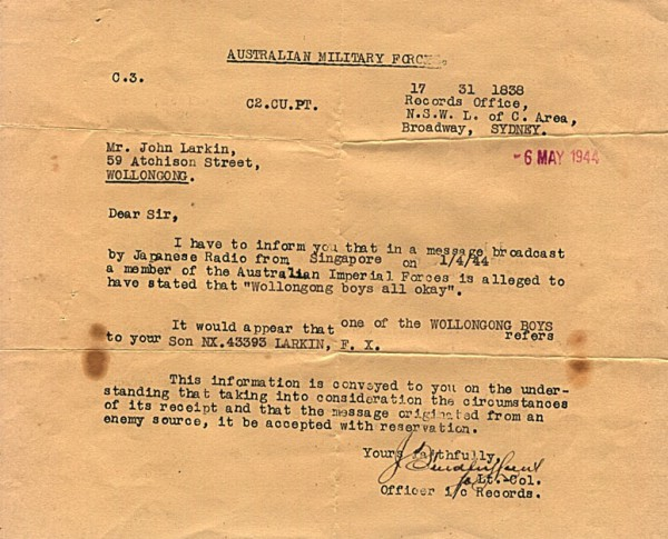 Australian Military Forces official correspondence dated 6th May 1944