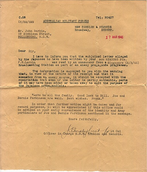 Australian Military Forces official correspondence dated 17th March 1945