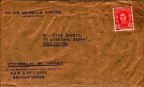 Australian Military Forces official correspondence envelope