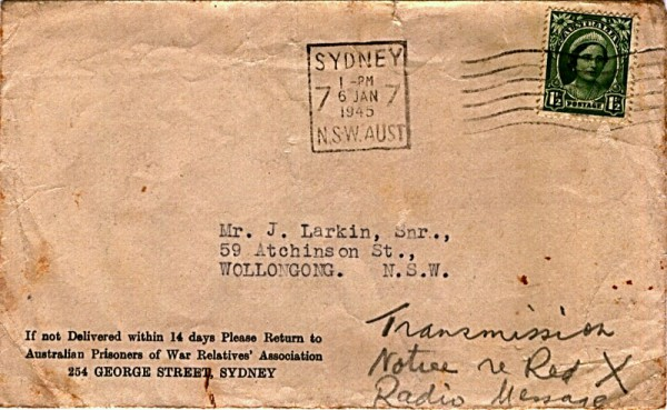 Australian Prisoners of War Relatives' Association Envelope