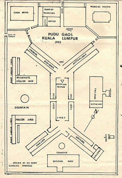 Map of Pudu Gaol, Kuala Lumpur