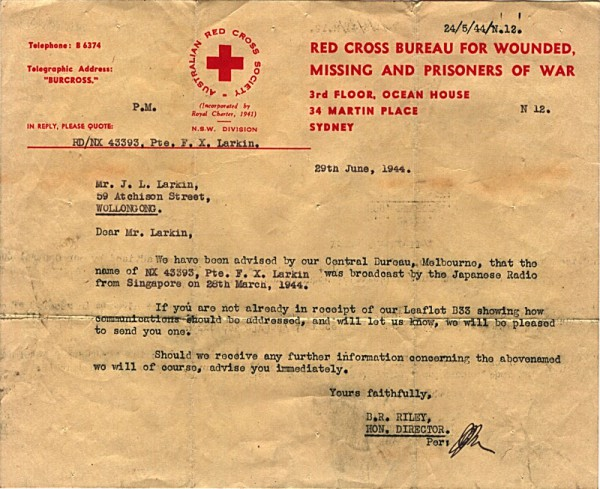 Red Cross Society Correspondence dated 29th June 1944
