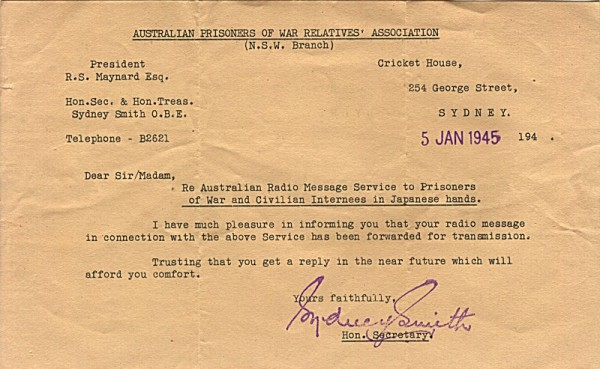Australian Prisoners of War Relatives' Association Letter