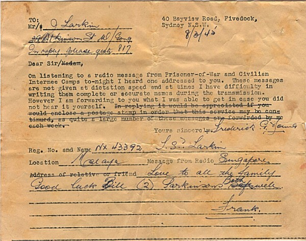 Radio message dated March 8th 1945 #2 Front