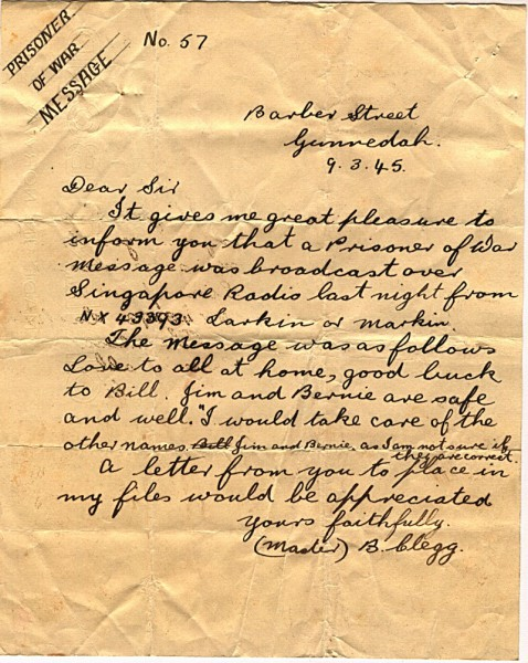 Radio message dated March 8th 1945 #2 Reverse