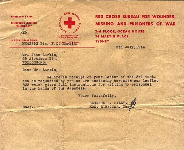 Red Cross Society Correspondence dated 5th July 1944