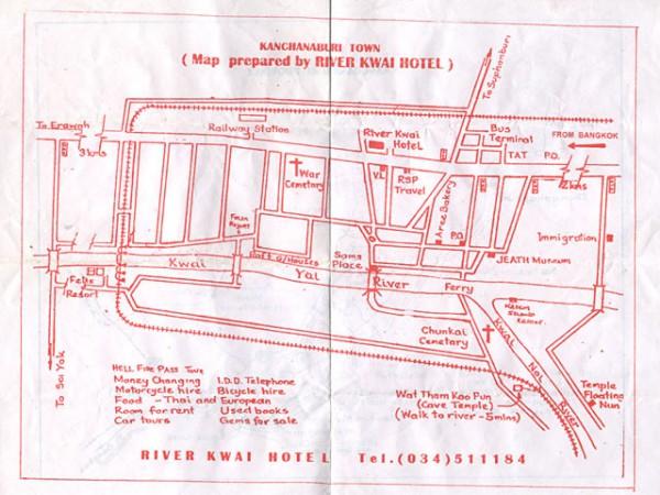 Map of Kanchanaburi, Thailand