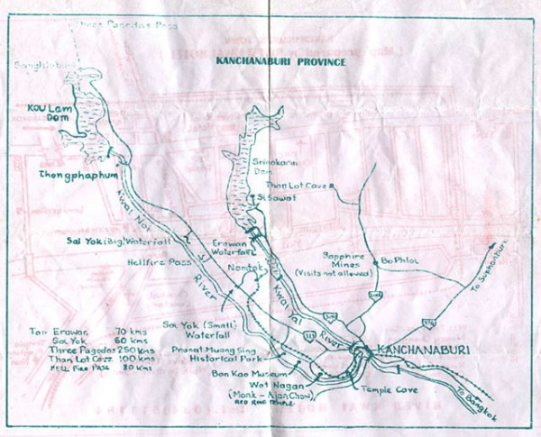 Map of Kanchanaburi Province, Thailand