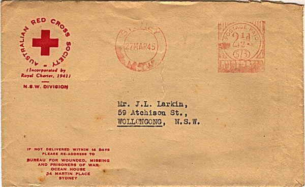 Red Cross Society Correspondence dated 27th March 1945 Envelope